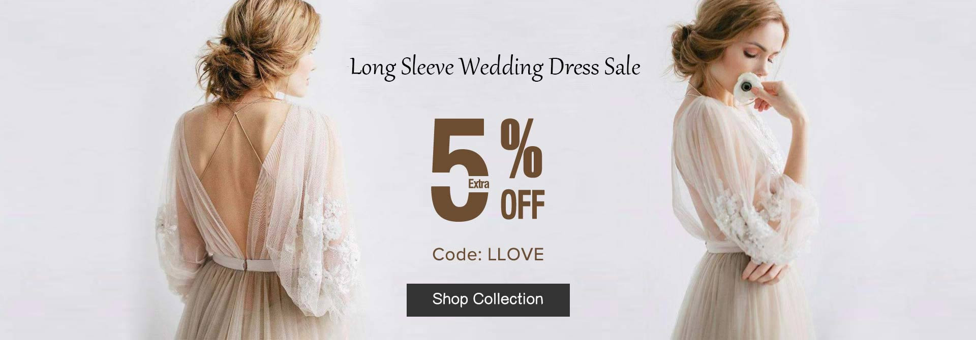 Extra 5% Off Long Sleeve Wedding Dresses Code LLOVE